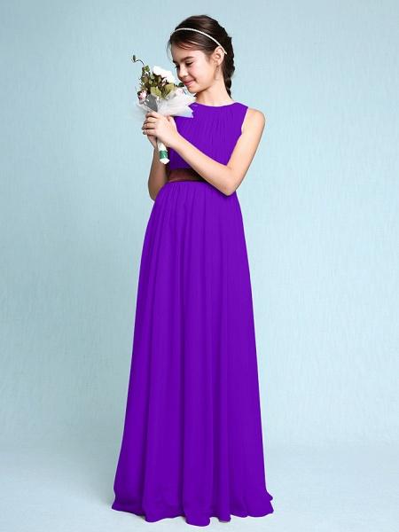 Sheath / Column Scoop Neck Floor Length Chiffon Junior Bridesmaid Dress With Draping / Natural_38