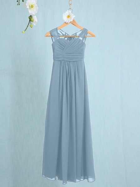 Sheath / Column Straps Ankle Length Chiffon Junior Bridesmaid Dress With Ruched / Natural_28