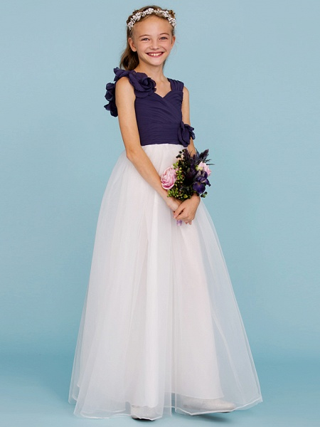 Princess / A-Line Straps Floor Length Chiffon / Tulle Junior Bridesmaid Dress With Criss Cross / Ruched / Flower / Color Block / Floral / Wedding Party_3