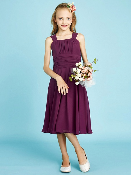 A-Line Straps Knee Length Chiffon Junior Bridesmaid Dress With Sash / Ribbon / Ruched / Draping / Natural_2