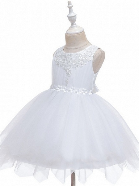 Princess / Ball Gown Short / Mini Wedding / Party Flower Girl Dresses - Tulle Sleeveless Jewel Neck With Sash / Ribbon / Appliques_2