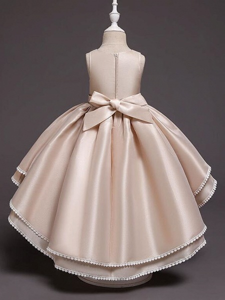 Princess Asymmetrical Wedding / Party / Pageant Flower Girl Dresses - Satin / Tulle Sleeveless Jewel Neck With Lace / Belt / Appliques_10