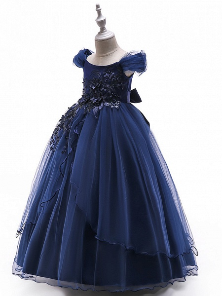 Ball Gown Floor Length Wedding / Party Flower Girl Dresses - Tulle Sleeveless Off Shoulder With Bow(S) / Solid / Tiered_9