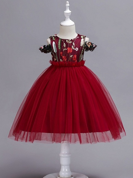 Princess / Ball Gown Knee Length Wedding / Party Flower Girl Dresses - Tulle Short Sleeve Jewel Neck With Bow(S) / Appliques_2