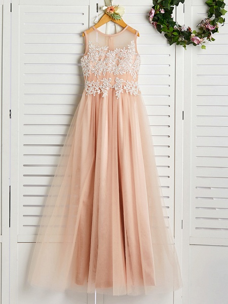 A-Line Jewel Neck Sweep / Brush Train Lace / Tulle Junior Bridesmaid Dress With Appliques_4