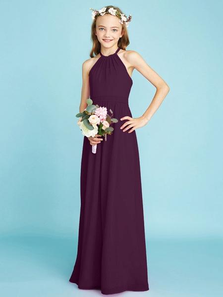 A-Line Halter Neck Floor Length Chiffon Junior Bridesmaid Dress With Sash / Ribbon / Natural_18