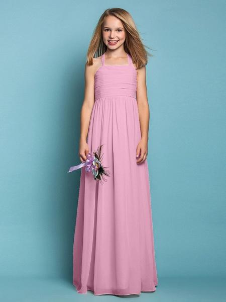 Sheath / Column Halter Neck Floor Length Chiffon Junior Bridesmaid Dress With Ruched / Spring / Summer / Fall / Apple / Hourglass_11