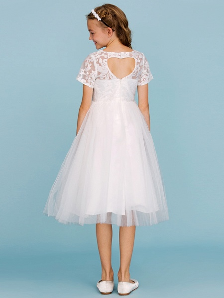 Princess / A-Line Crew Neck Knee Length Lace / Tulle Junior Bridesmaid Dress With Pleats / Wedding Party / See Through_2