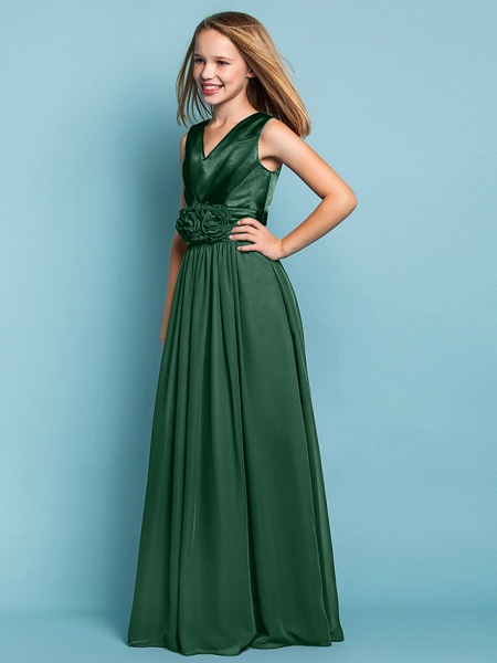 Sheath / Column V Neck Floor Length Chiffon Junior Bridesmaid Dress With Flower / Spring / Summer / Fall / Apple / Hourglass_33
