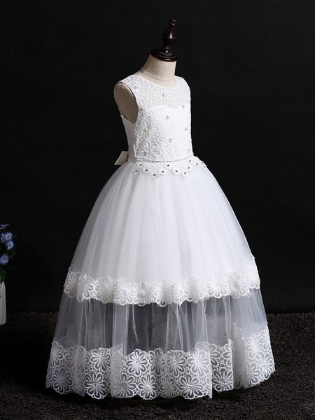 Princess Floor Length Wedding / First Communion / Pageant Flower Girl Dresses - Lace / Tulle Sleeveless Jewel Neck With Appliques / Solid_3