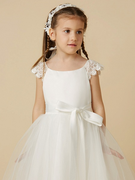 Princess Tea Length Wedding / First Communion Flower Girl Dresses - Lace / Satin / Tulle Short Sleeve Scoop Neck With Sash / Ribbon / Bow(S)_4