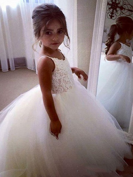 Princess Long Length Wedding / Birthday / Pageant Flower Girl Dresses - Tulle / Cotton Sleeveless Jewel Neck With Lace / Appliques_2