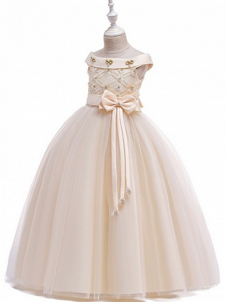 Princess / Ball Gown Floor Length Wedding / Party Flower Girl Dresses - Tulle Short Sleeve Off Shoulder With Sash / Ribbon / Bow(S) / Appliques_10