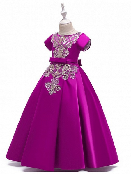 A-Line Round Floor Length Cotton Junior Bridesmaid Dress With Bow(S) / Appliques_5