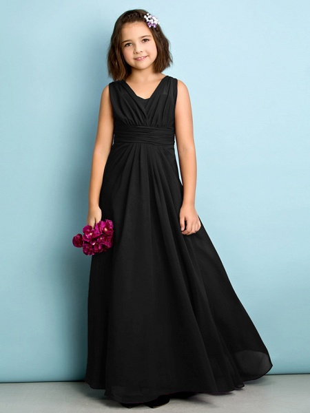 A-Line V Neck Floor Length Chiffon Junior Bridesmaid Dress With Criss Cross / Natural / Mini Me_38