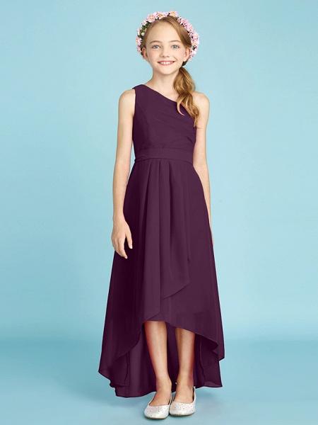 A-Line One Shoulder Asymmetrical Chiffon Junior Bridesmaid Dress With Sash / Ribbon / Bow(S) / Side Draping / Natural_20