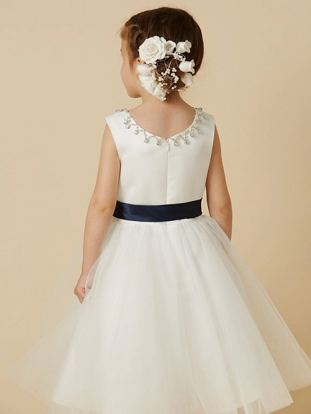 Princess Tea Length Wedding / First Communion Flower Girl Dresses - Satin / Tulle Sleeveless Jewel Neck With Sash / Ribbon / Beading_5