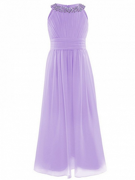 A-Line Round Floor Length Chiffon / Sequined Junior Bridesmaid Dress With Beading / Ruching_9