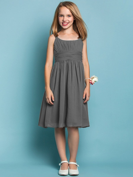 Sheath / Column Straps Knee Length Chiffon Junior Bridesmaid Dress With Ruched / Draping / Spring / Summer / Fall / Apple / Hourglass_24