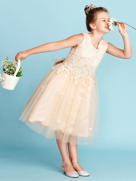 Princess / A-Line Jewel Neck Knee Length Lace / Tulle Junior Bridesmaid Dress With Bow(S) / Appliques / Wedding Party_4