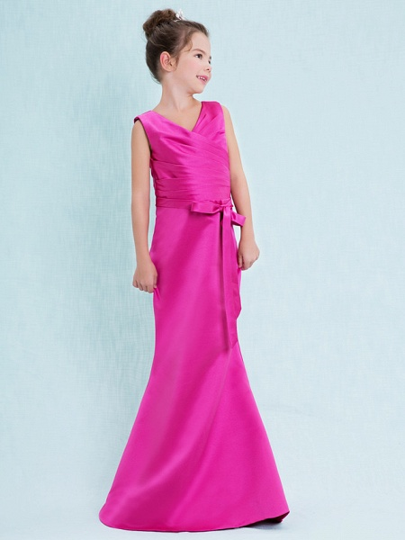 Mermaid / Trumpet V Neck Floor Length Satin Junior Bridesmaid Dress With Criss Cross / Natural_3