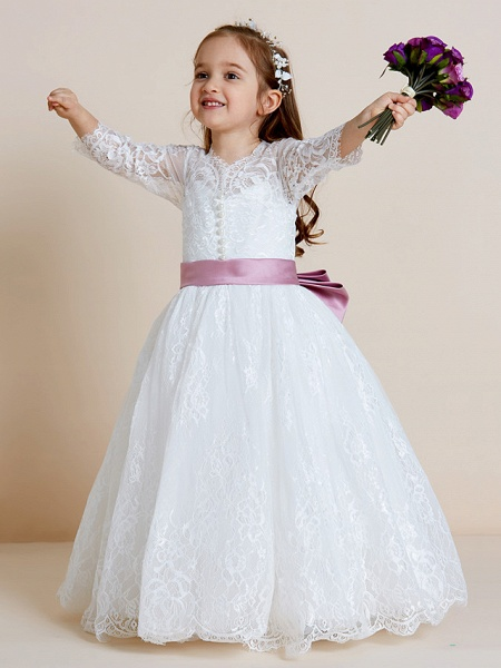 Ball Gown Floor Length Wedding / First Communion Flower Girl Dresses - Lace / Tulle Long Sleeve V Neck With Lace / Sash / Ribbon / Bow(S)_1