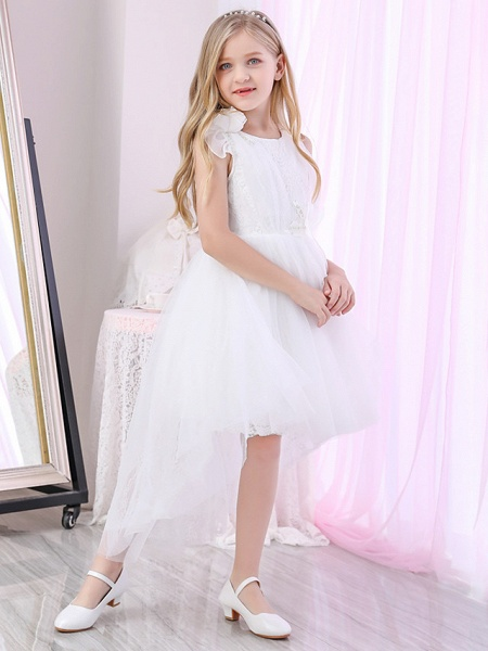 Princess / Ball Gown Sweep / Brush Train / Royal Length Train Wedding / Event / Party Flower Girl Dresses - Lace / Satin / Tulle Sleeveless Jewel Neck With Lace / Cascading Ruffles / Flower_3