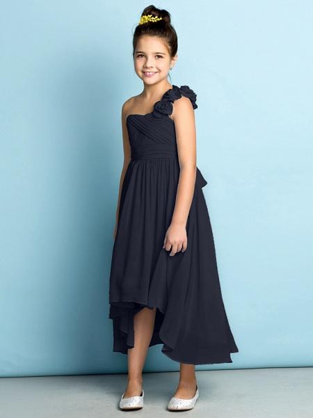 A-Line One Shoulder Asymmetrical Chiffon Junior Bridesmaid Dress With Criss Cross / Flower / Natural / Mini Me_39