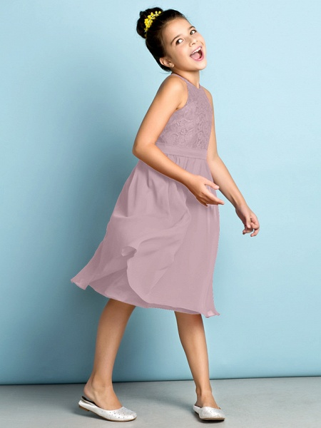 A-Line Jewel Neck Knee Length Chiffon / Lace Junior Bridesmaid Dress With Lace / Natural / Mini Me_28