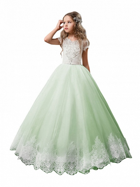 Princess Floor Length Wedding / Birthday / First Communion Flower Girl Dresses - Cotton / Nylon With A Hint Of Stretch / Lace / Tulle Short Sleeve Jewel Neck With Lace / Crystals / Rhinestones_5