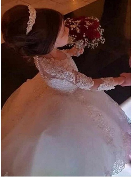 Ball Gown Floor Length Wedding Flower Girl Dresses - Lace Long Sleeve Jewel Neck With Appliques / Solid_3