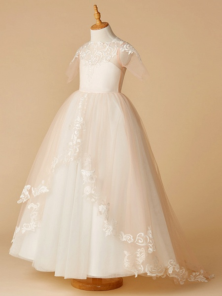 A-Line Sweep / Brush Train Wedding / First Communion / Pageant Flower Girl Dresses - Tulle Half Sleeve Jewel Neck With Appliques_3