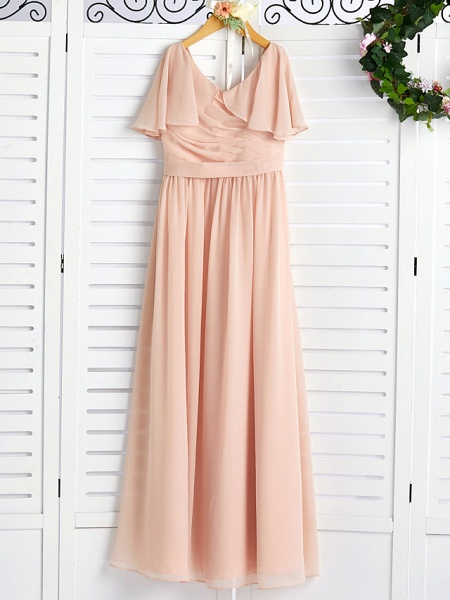 A-Line Jewel Neck Maxi Chiffon Junior Bridesmaid Dress With Ruffles / Ruching / Wedding Party_4