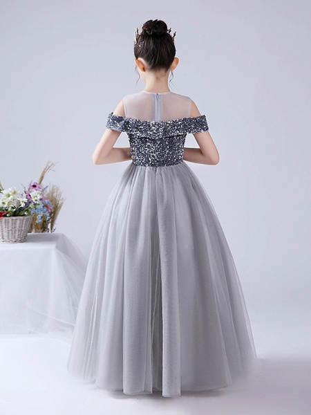 Ball Gown Floor Length Party / Birthday Hanfu / Flower Girl Dresses - Tulle / Sequined Sleeveless Off Shoulder / Jewel Neck With Paillette_3