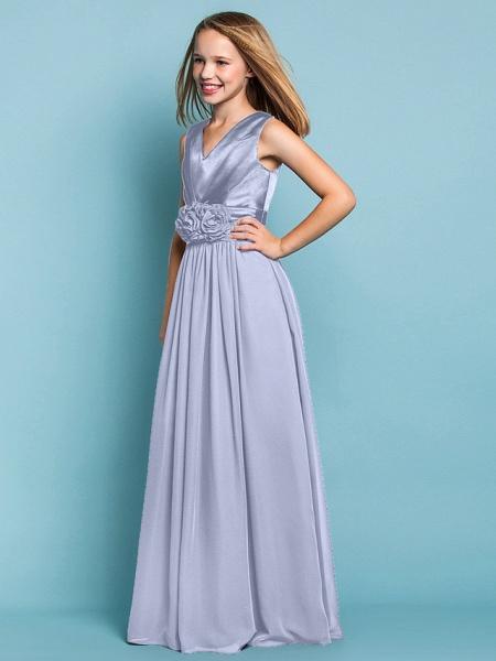 Sheath / Column V Neck Floor Length Chiffon Junior Bridesmaid Dress With Flower / Spring / Summer / Fall / Apple / Hourglass_36