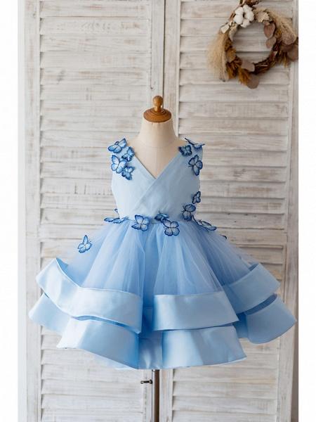 Ball Gown Knee Length Wedding / Birthday Flower Girl Dresses - Satin / Tulle Sleeveless V Neck With Butterfly Design_1