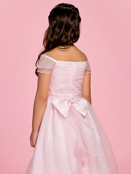 Princess / A-Line Ankle Length First Communion / Wedding Party Organza Short Sleeve Bateau Neck / Off Shoulder With Bow(S) / Ruched / Appliques / Spring / Summer / Fall_6