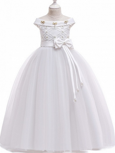 Princess Bateau Floor Length Cotton Junior Bridesmaid Dress With Bow(S) / Pearls / Appliques_2