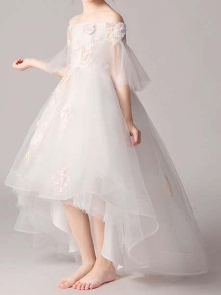 A-Line Asymmetrical Pageant Flower Girl Dresses - Polyester Half Sleeve Off Shoulder With Appliques_3
