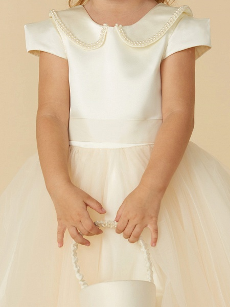 Ball Gown Tea Length Pageant Flower Girl Dresses - Satin / Tulle Short Sleeve Jewel Neck With Pearls / Beading_5