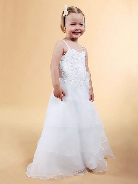 Princess / A-Line Floor Length Wedding Party Organza / Satin Sleeveless Spaghetti Strap With Appliques / Flower / Spring / Summer / Fall / Winter_7