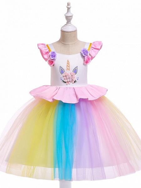 Princess Midi Party / Birthday / Pageant Flower Girl Dresses - Tulle Sleeveless Jewel Neck With Petal / Ruffles / Pattern / Print_4