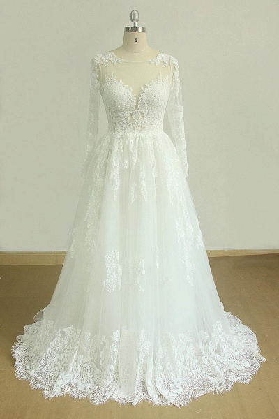 SD1963 Long Sleeve Appliques Jewel Ball Gown Wedding Dress