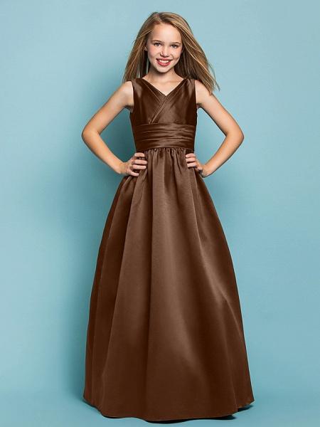Princess / A-Line V Neck Floor Length Satin Junior Bridesmaid Dress With Sash / Ribbon / Criss Cross / Spring / Summer / Fall / Apple / Hourglass_22