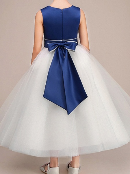 Ball Gown Ankle Length Pageant Flower Girl Dresses - Polyester Sleeveless Jewel Neck With Bow(S)_4