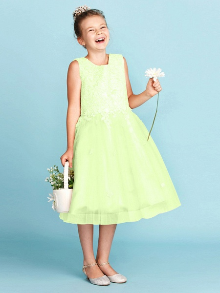 Princess / A-Line Jewel Neck Knee Length Lace / Tulle Junior Bridesmaid Dress With Bow(S) / Appliques / Wedding Party_41