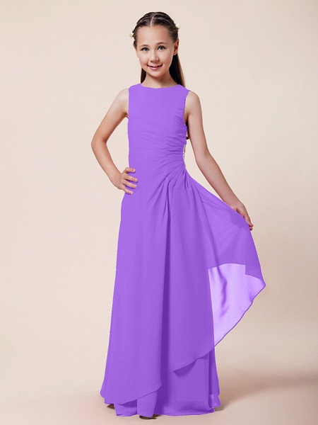 A-Line / Sheath / Column Bateau Neck Floor Length Chiffon Junior Bridesmaid Dress With Beading / Side Draping / Spring / Summer / Fall / Winter / Wedding Party_26