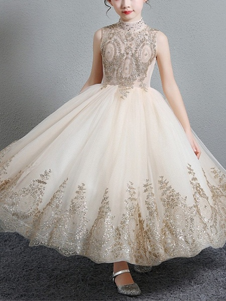 A-Line Floor Length Pageant Flower Girl Dresses - Polyester Sleeveless High Neck With Paillette_2