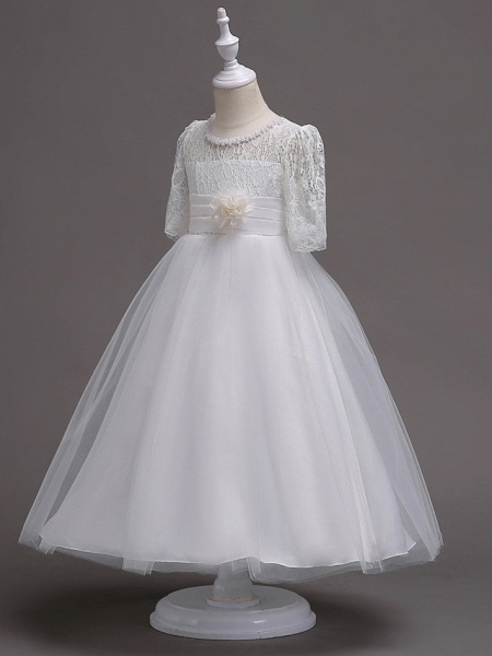 Princess Tea Length Wedding / First Communion Flower Girl Dresses - Lace / Satin / Tulle Half Sleeve Jewel Neck With Lace / Belt / Beading_3