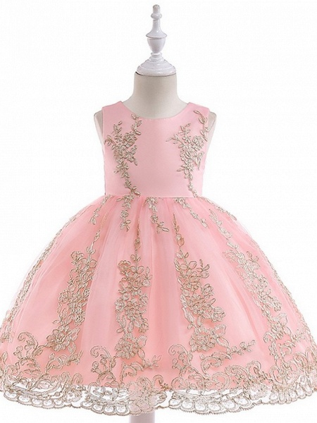 Princess / Ball Gown Knee Length Wedding / Party Flower Girl Dresses - Tulle Sleeveless Jewel Neck With Bow(S) / Appliques_11